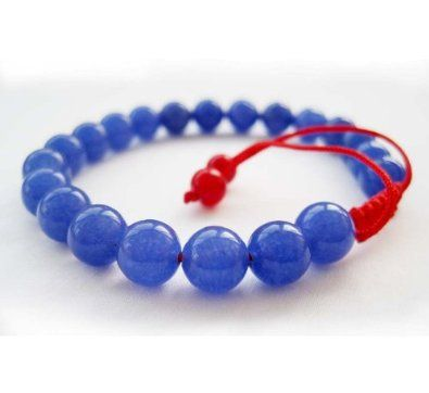 8mm Blue Jade Beads Tibetan Buddhist Wrist Mala Bracelet for Meditation