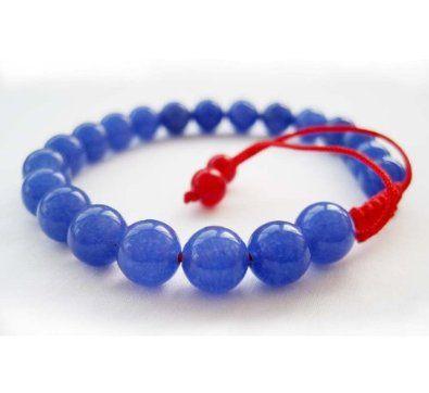 8mm Blue Jade Beads Tibetan Buddhist Wrist Mala Bracelet for Meditation