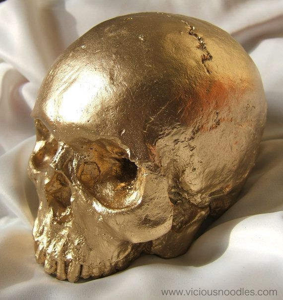 HUMAN SKULL REPLICA Gold Finish
