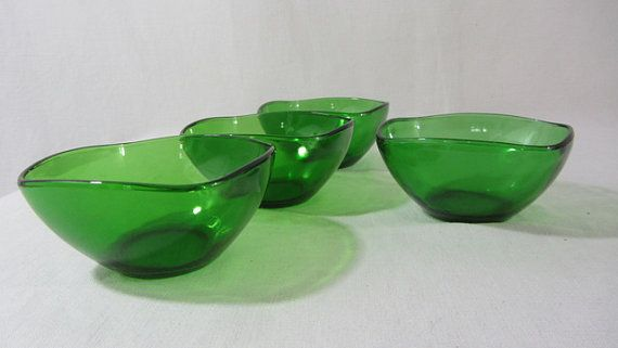 4 vereco green glass bowls. tempered glass. 1970's by RoziereBroc