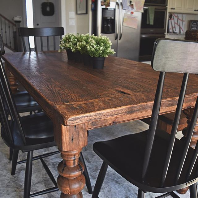 An Ever Favorite This 6 5 Oak Farmhouse Table Has A Provincial Stain Farmhouse Dining Room Table Country Dining Room Table Dining Room Table Decor