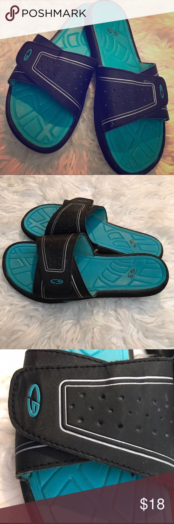 C9 by Champion Slide Sandal Sz 10 Black n turquoise. Adjustable Velcro. Gently used. Indoor only, never outside. Sz 10 Champion Shoes