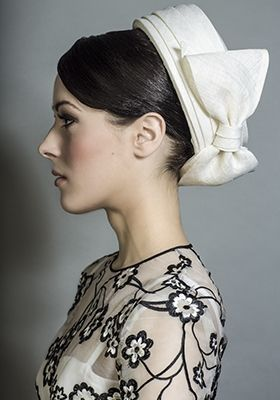 Rachel Trevor-Morgan Millinery - Ivory straw fine straw Jackie O pillbox with bow. #passion4hats