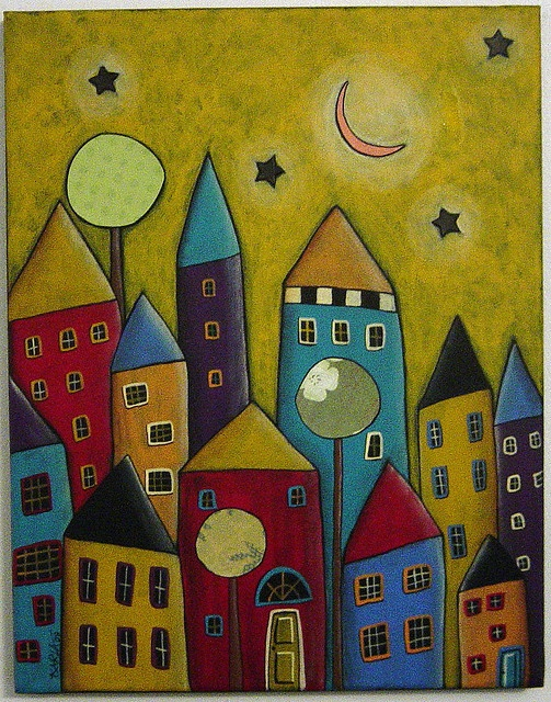 Houses Moon Collage Painting | Flickr - Photo Sharing!
