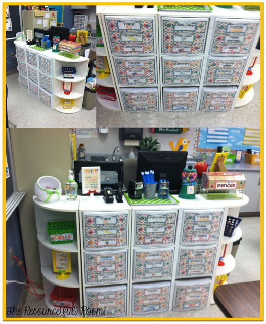 Also love how she set up the classroom supplies right in front of her desk. Hides an ugly brown desk and utilizes space!