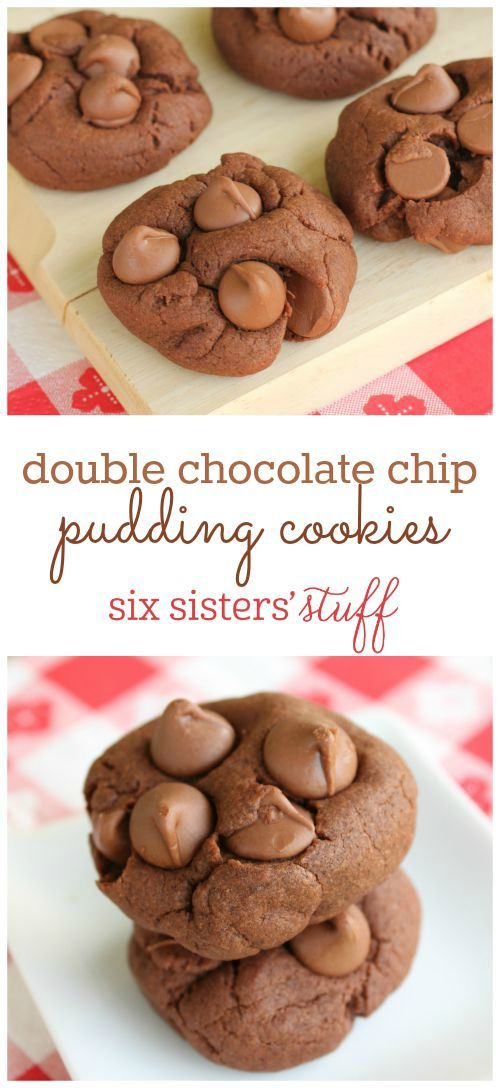 Double Chocolate Chip Pudding Cookies on SixSistersStuff.com