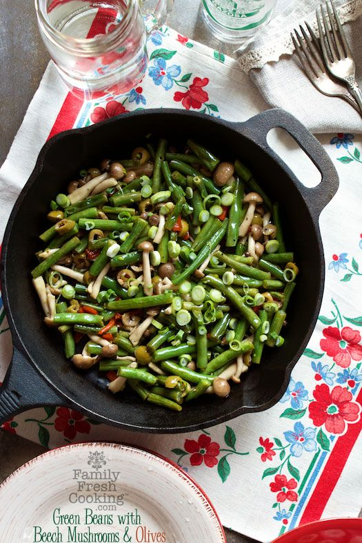Green Beans with Beech Mushrooms & Olives | A Perfect Side Dish | Vegan recipe on FamilyFreshCooking.com