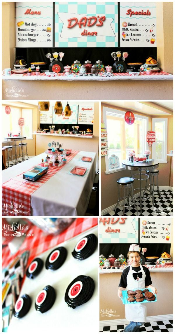 Retro Diner Party with Free Printable Treat Idea #FathersDay http://www.momsandmunchkins.ca/2014/05/20/retro-diner-party/