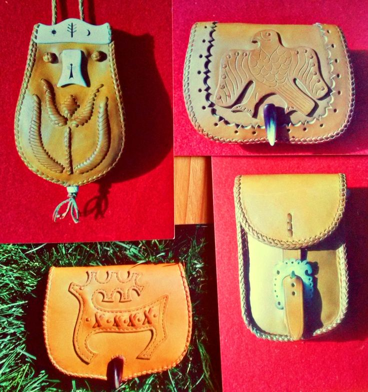 Pouches, leather, bone, deer antler, cow horn. Made by Zoltan Feher