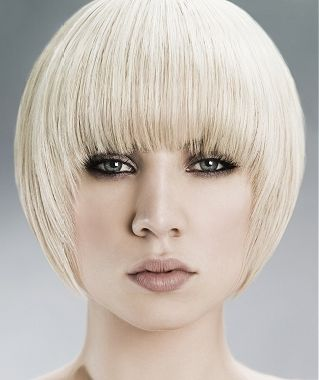 A short blonde straight coloured bob Womens hairstyle by Hair Machine