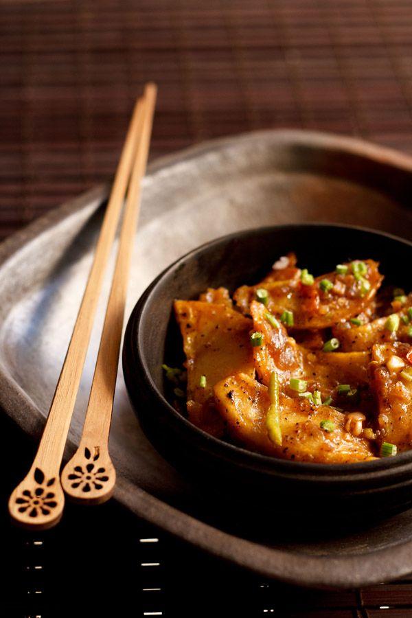 schezwan chilli potatoes recipe, how to make schezwan chilli potatoes (Indo-Chinese) #vegan #restaurant #reviews