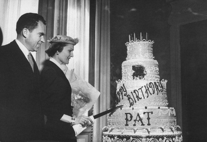 Vice President Richard Nixon, watches his wife and future First Lady Pat Nixon cut her birthday cake, 1957- This was truly a First Lady! She was gracious, kind. First Ladies do not come along like Pat Nixon very often - I'm glad America got to experience her.