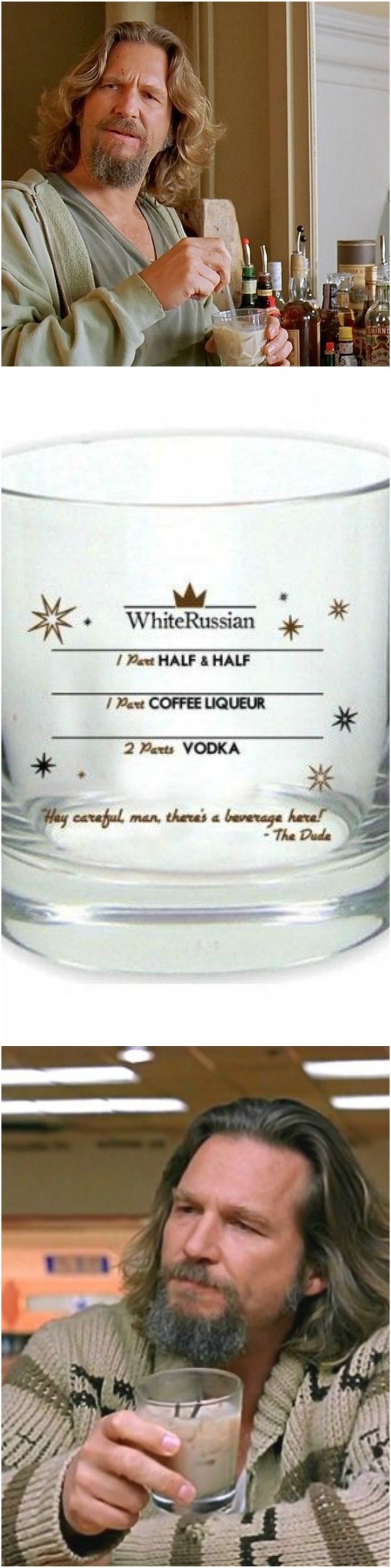 """Hey careful man! Theres a beverage here"" -the Dude. The Big Lebowski White Russian Recipe Rocks Glass. Great gift for the holidays"