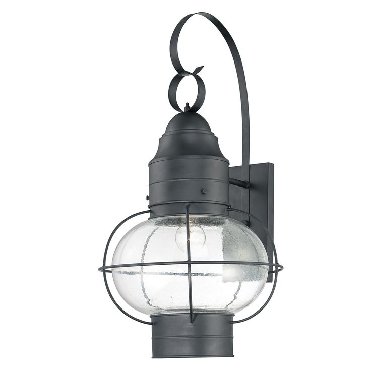 Quoizel Cooper One Light Outdoor Wall Lantern In Mystic Black Possibly Too Nautical But I Like The Round Tie To Interior Lighting