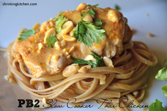 "Shrinking Kitchen: PB2 Slow Cooker Thai Chicken. Another Pad Thai recipe but this ones for the slow cooker. I'm gonna have to try this one as well. I found this because I follow ""Shrinking Kitchen"" blog."