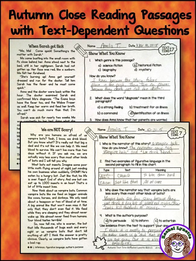 Ready to use reading skills practice with an Autumn theme! 20 Fall-themed passages at two reading levels (3/4 and 4/5). Challenging text-dependent questions all on one page!