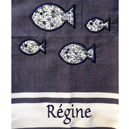 Broderie fouta bleu motif POISSONS personnalisée Régine