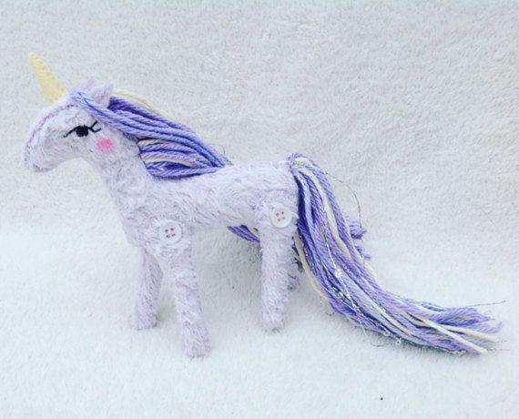 Lavender Lemon Unicorn Faux Fur Ornament by UnicornGardenDolls