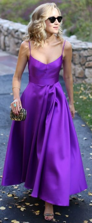 Stunning purple, but it wouldn't complement my skin tone. Love the cut and formal fabric. Would probably choose a royal blue or another true hue.