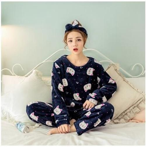 cb5889184 Autumn Winter Warm Pyjamas Women Sleepwear Female Fleece Pajamas Sets Plus  Size Home Suits Sleep Lounge Pajamas For Women Adults