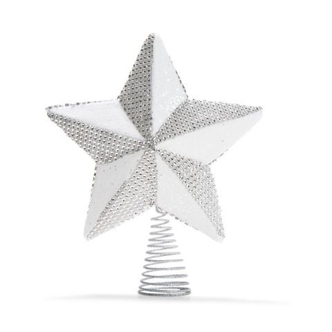 Glittered Gold Star Tree Topper - Silver