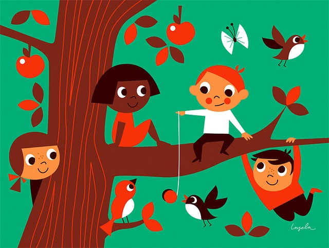 Friends in tree by Ingela P Arrhenius - L'Affiche Moderne by L'Affiche Moderne, via Flickr