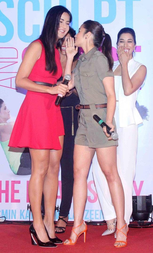 We wonder what Alia Bhatt is whispering into Katrina Kaif's ears at the launch event of fitness instructor Yasmin Karachiwala's book 'Sculpt and Shape: The Pilates Way'. #Bollywood #Fashion #Style #Beauty #Hot