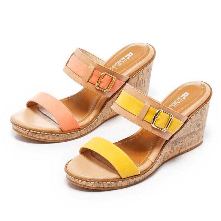 1-2180 Fair Lady 鮮艷色皮革繞帶楔型涼鞋 黃 - Yahoo!奇摩購物中心