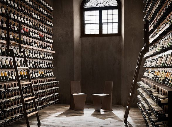 Ideal for lofts or penthouses, the Wine Library is a unique wine-storage solution that holds different bottle sizes and ensures proper wine storage. The beautifully crafted modular bookcase is made entirely of laser cut iron and comes with a rollable