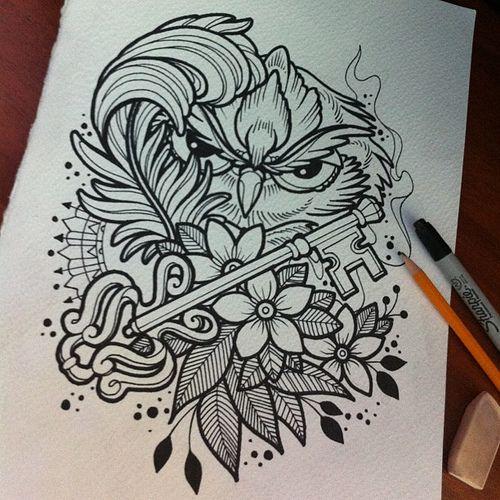 Scketh owl!!! #ta2 #tinta #tattoo #tatuaje #skin #sc #scketh #diseño #design…