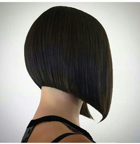 Triangular one length.   Get the look: Create four standard segments with a natural part, start in the center back using comb length sections at a horizontal-diagonal-forward section angle and an in comb hand position. Without any elevation, over direction, or tension begin cutting parallel to the section.