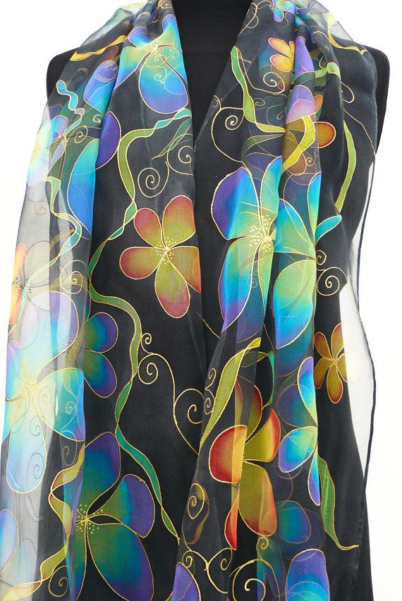 Bright flowers  black silk scarf Hand Painted Chiffon by Irisit