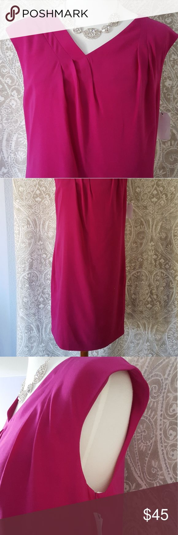 NWT Ellen Tracy fuschia dress, size 8 Gorgeous above the knee dress with graceful darts on the bodice.  NWT, perfect condition, zips on the back Ellen Tracy Dresses Midi