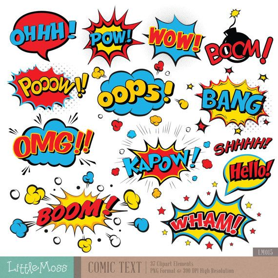 Comic Text Digital Clipart, Superhero Text Clipart, Superheroes Pop Art Text and Bubbles Clipart