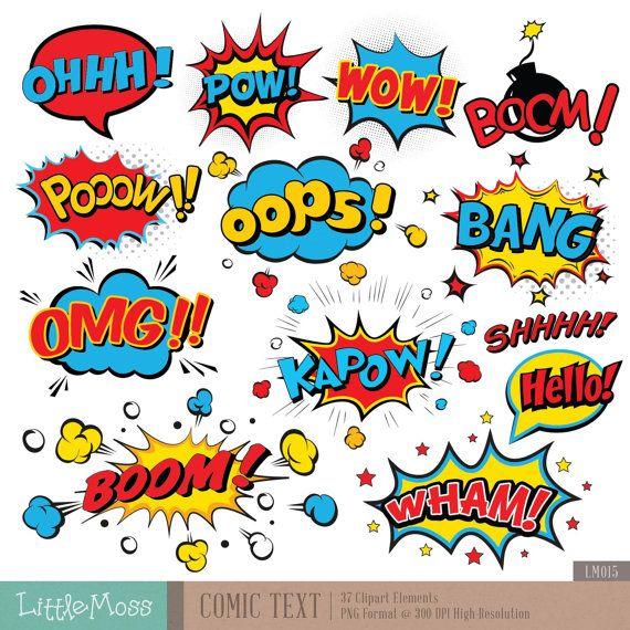 Comic Text Digital Clipart, Superhero Text Clipart, Superheroes Pop Art Text and Bubbles Clipart