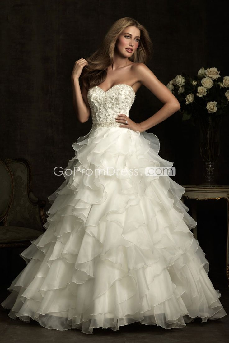 Chic Ball Gown Organza Beaded Bodice Ruffles Wedding Dress Gopromdres
