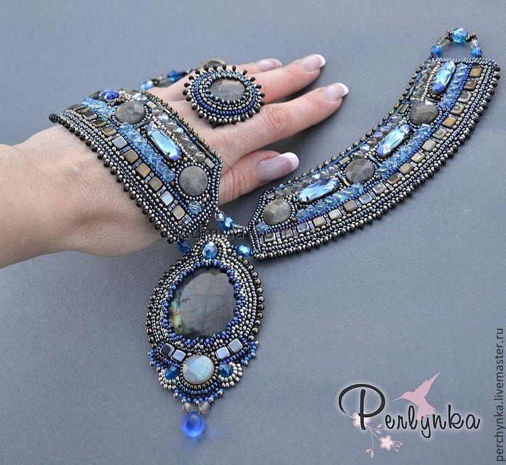 """Купить Комплект """"Эллада"""" - синий, колье с камнями, комплект украшений, кольцо, лабрадор, вечернее украшение"""