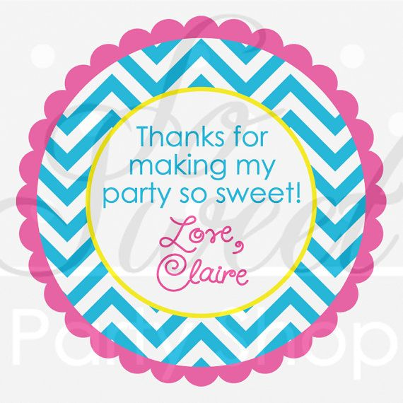24 Girls Birthday Favor Sticker Labels - Chevron Birthday Decorations with Polkadots - Teal, Pink, Yellow on Etsy, $6.00