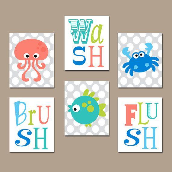 Ocean Animals Bathroom Wall Art Sea Animals Canvas Or Prints Ocean Bathroom Bathroom Kids Kid Bathroom Decor