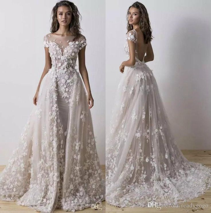 Elegant A Line Tulle Chapel Wedding ceremony Attire With 3D Flower Beads Wedding ceremony Robe Scoop Neck Brief Sleeve Backless Bridal Costume Vestido De Novia