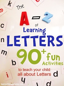 The A-Z of Learning Letters. 90+ ways to teach your child all about Letters! (lots of good links to activities here)