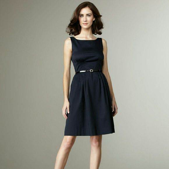 Kate Spade Sonja in Midnight Blue, NWT Never worn, the zipper still has protective cover.   This kate spade new york dress inspires confidence every time you wear it. From the waist-cinching pleating to the fit-and-flare silhouette you'll love the classically feminine look it gives you.  Midnight (navy) stretch twill. Bateau neckline; deep scoop back. Sleeveless; thin shoulder straps. Pleating under bust and at waist; adjustable skinny belt. Side-seam pockets at hips. Full A-line skirt…