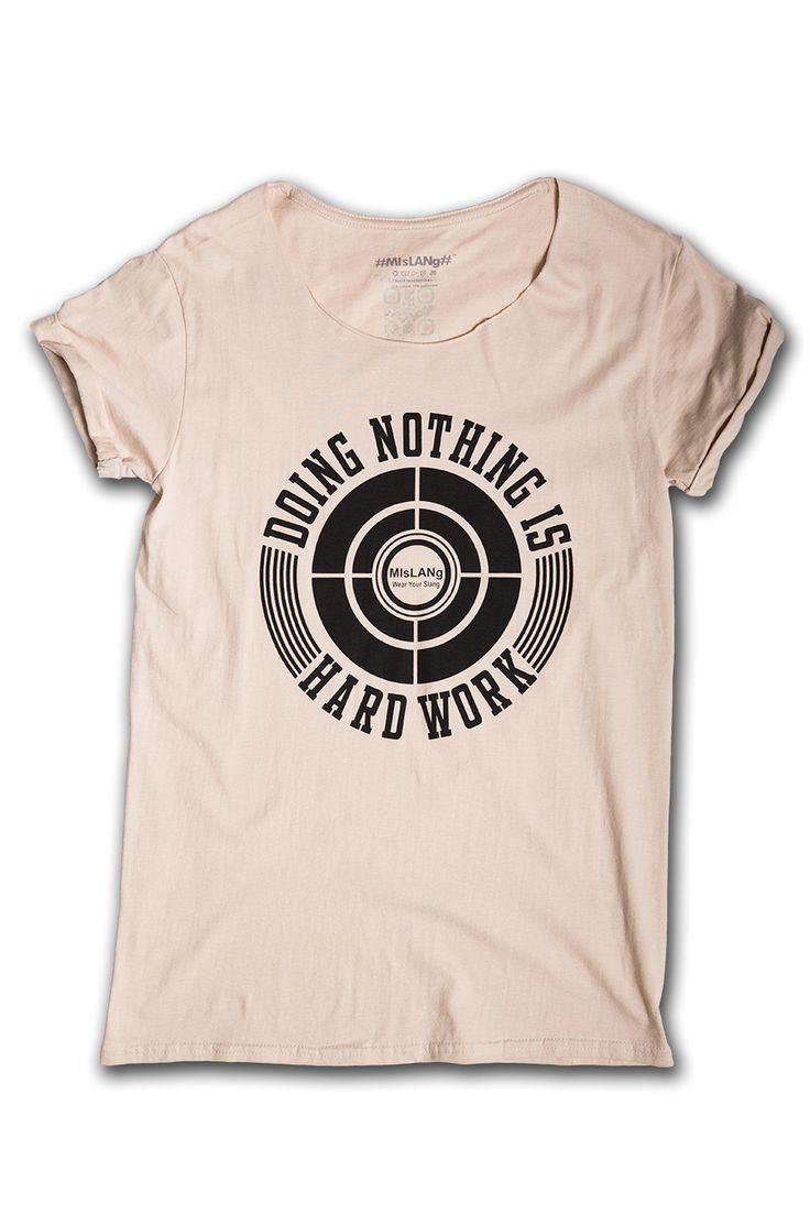 T-shirt SABBIA con grafica NERA   Mislang - Wear your slang