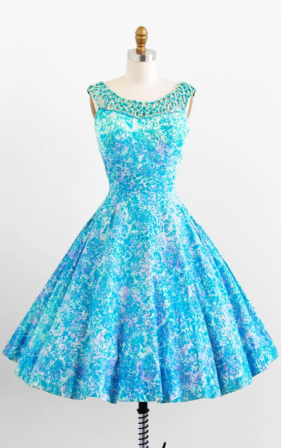 vintage 1950s teal + lavender floral print cotton + rhinestones party #dress #vintage #retro #silk #classic #romantic #promdress #feminine #fashion #ballerina