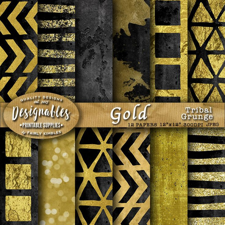 Gold Glitter, Gold Foil, Grunge, Gold Bokeh, Tribal Designs,12x12, Digital Paper, Commercial License, 300dpi, Instant Download by DesignableSupplies on Etsy