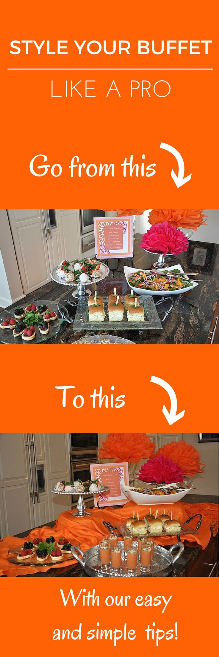 Take your buffet to the next level! Follow these simple steps to create multiple levels and add pops of color to your next party.