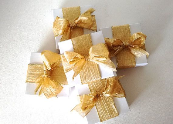 Gold and white gift boxfavor boxes gold gift box by CocoDoro