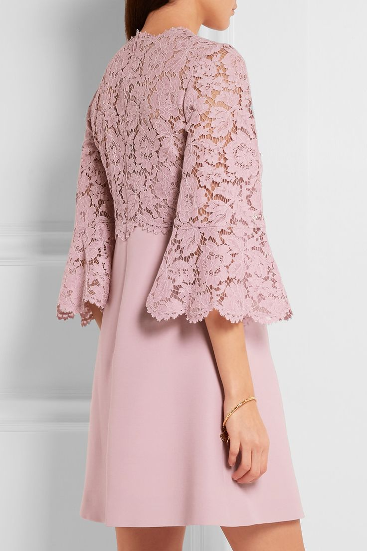 Valentino | Bell-sleeve corded lace and crepe mini dress | NET-A-PORTER.COM