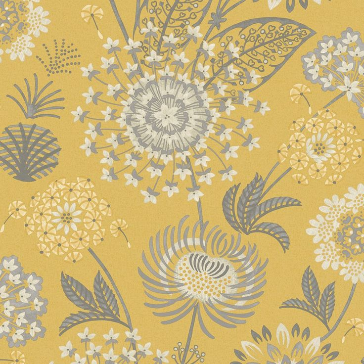 Arthouse Vintage Bloom Mustard Yellow Wallpaper. Vintage Bloom is a pretty vintage floral in a rich mustard yellow with white and charcoal complimentary flowers.