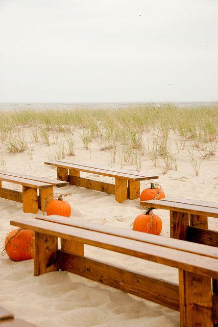 Wedding Ceremony on Beach w/ Pumpkins
